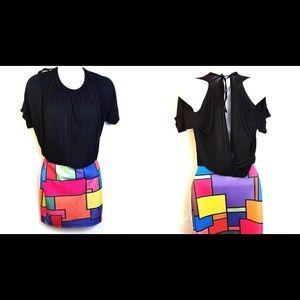 Deb Colorful Open Back Cold Shoulder Dress